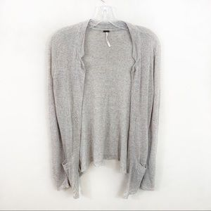 Free People linen gray/multi colored cardigan